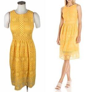 Paris Sunday Yellow Lace Overlay Dress Sleeveless